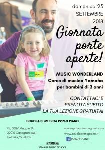"""Domenica 23 Settembre """"Giornata porte aperte"""" da Scuola di musica Primo Piano – Canegrate"""