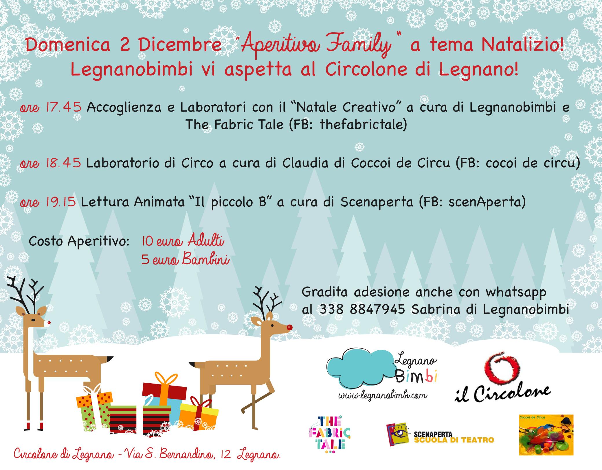 """Aspettiamo il  Natale con l """"Aperitivo Family"""" in tema natalizio! Legnanobimbi e Il Circolone di Legnano invitano tutte le famiglie per la serata più divertente!"""