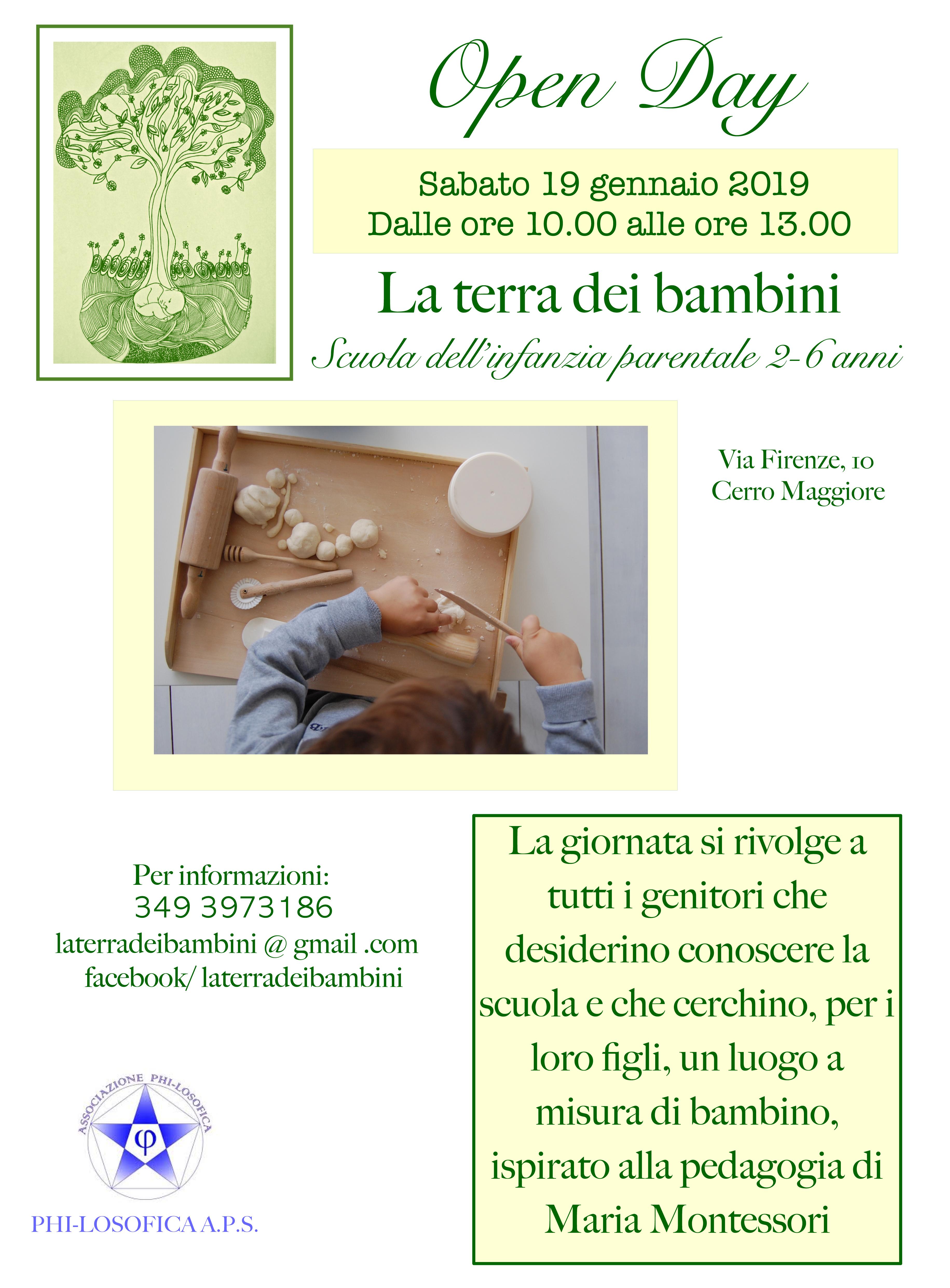 """Sabato 19 Gennaio – OPEN DAY """"LA TERRA DEI BAMBINI"""" – Scuola parentale di ispirazione Montessori"""