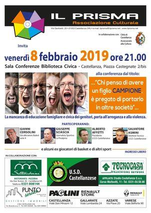 """Venerdi' 8 febbraio conferenza: """"Chi pensa di avere un figlio campione è pregato di portarlo in altre società""""presso Biblioteca Civica di Castellanza"""