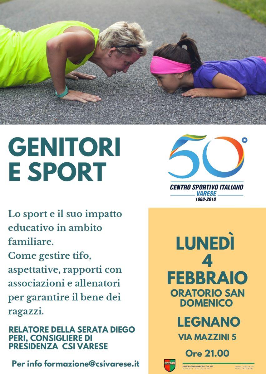 Lunedì 4 Febbraio INCONTRO I GENITORI E LO SPORT presso Oratorio San Domenico – Legnano