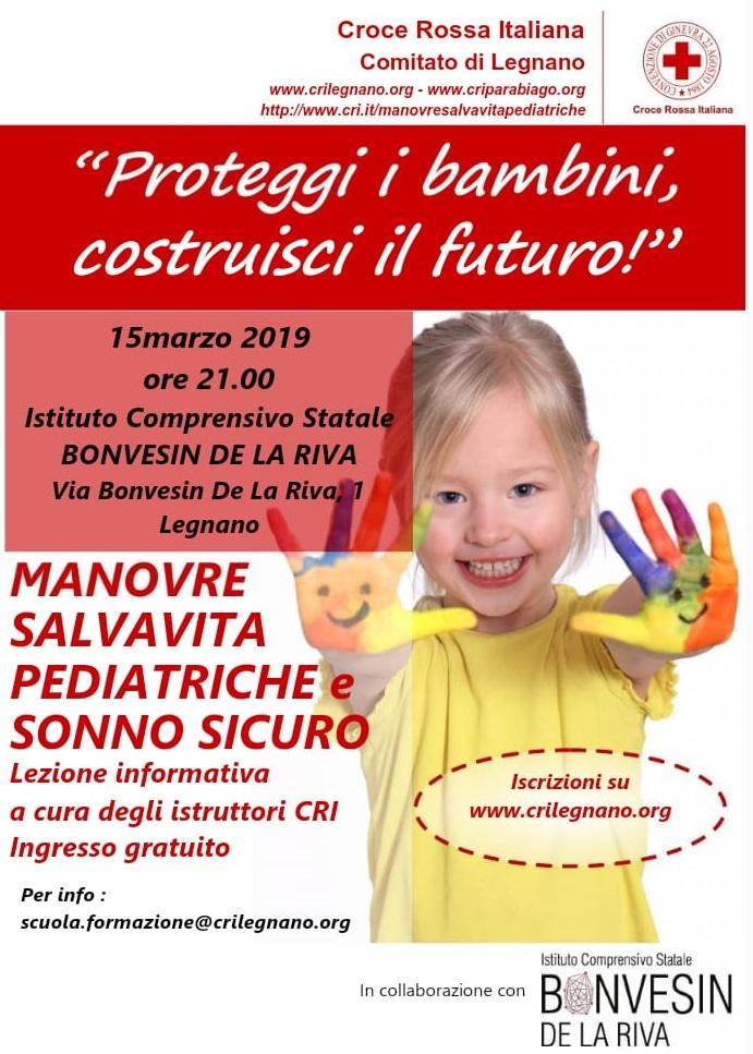 Venerdì 15 marzo Lezione informativa gratuita di manovre salvavita pediatriche e sonno sicuro! Scuole Bonvesin a Legnano!!!