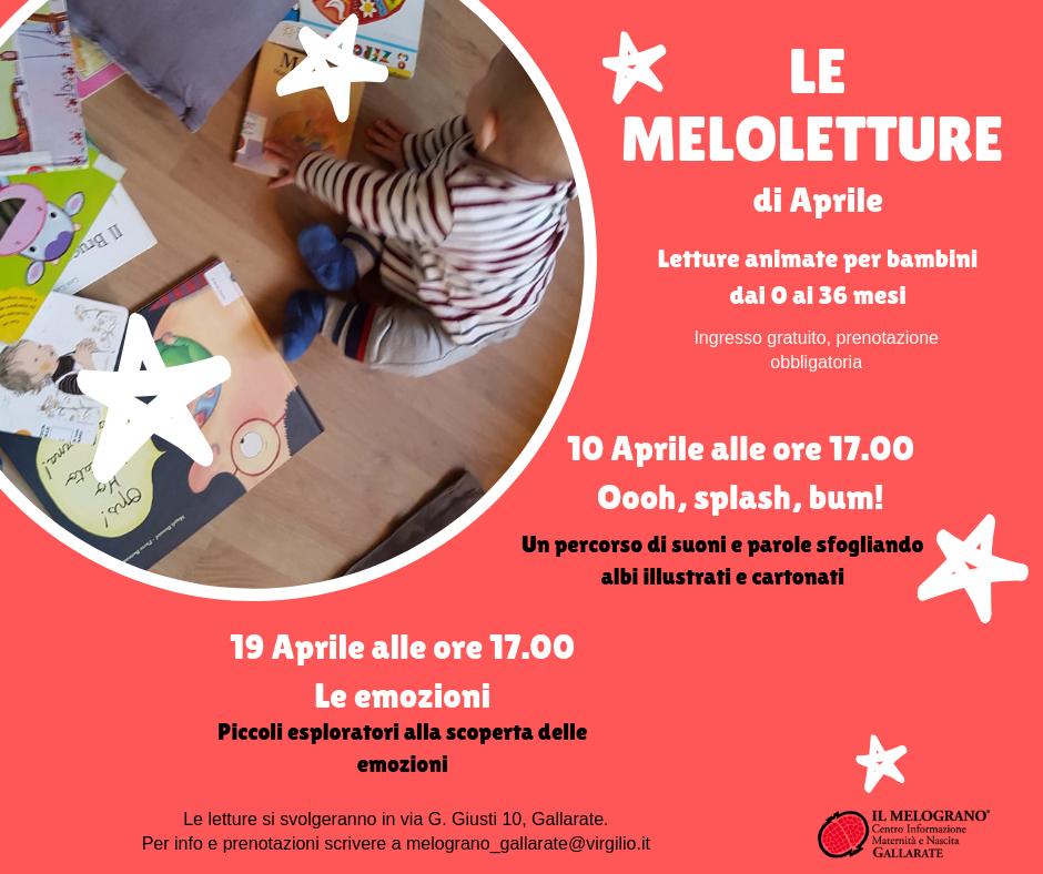 """Venerdì 19 Aprile – Lettura Animata """"Le Emozioni"""" – IL MELOGRANO Gallarate"""