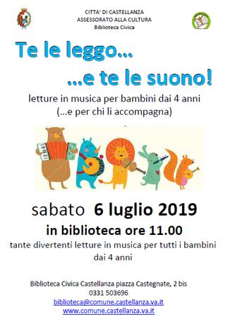 Sabato 6 Luglio Te le leggo e te le suono! Biblioteca Civica di Castellanza