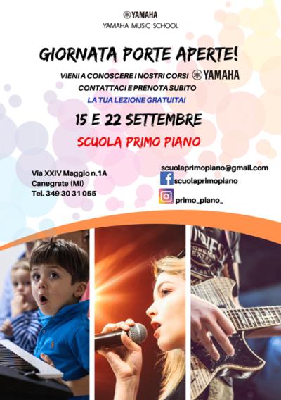 Domenica 15 e 22 Settembre OPEN DAY Scuola di Musica Yamaha a Canegrate! La musica per la vita!