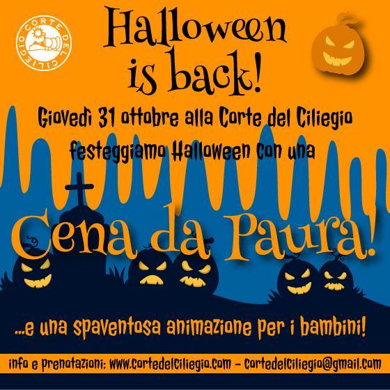 Giovedì 31 Ottobre – HALLOWEEN IS BACK! – Festa di Halloween con Cena alla Corte del Ciliegio