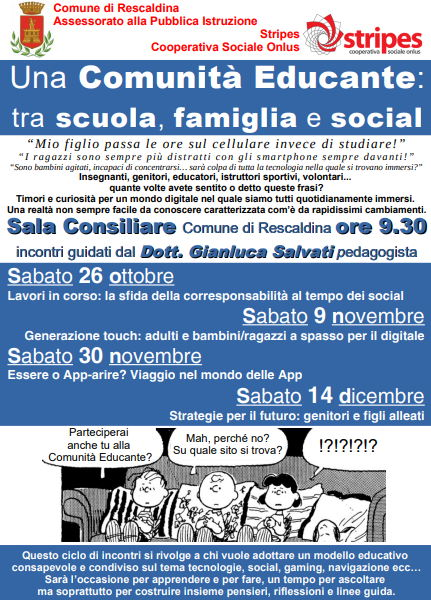 Sabato 26 ottobre Ciclo di incontri: Comunità Educante tra scuola, famiglia e social!!!