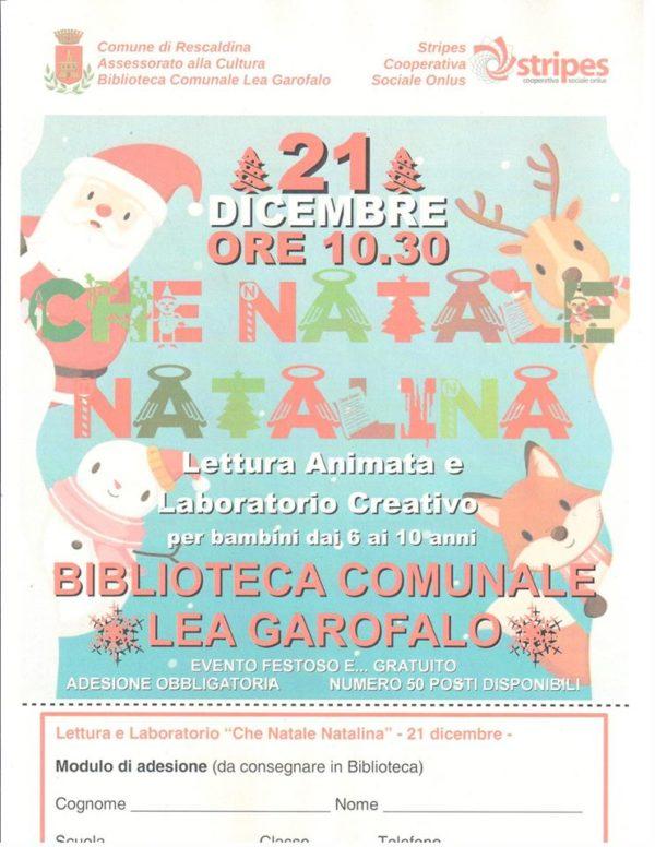 """Sabato 21 Dicembre lettura animata con laboratorio creativo """"Che Natale Natalina"""""""