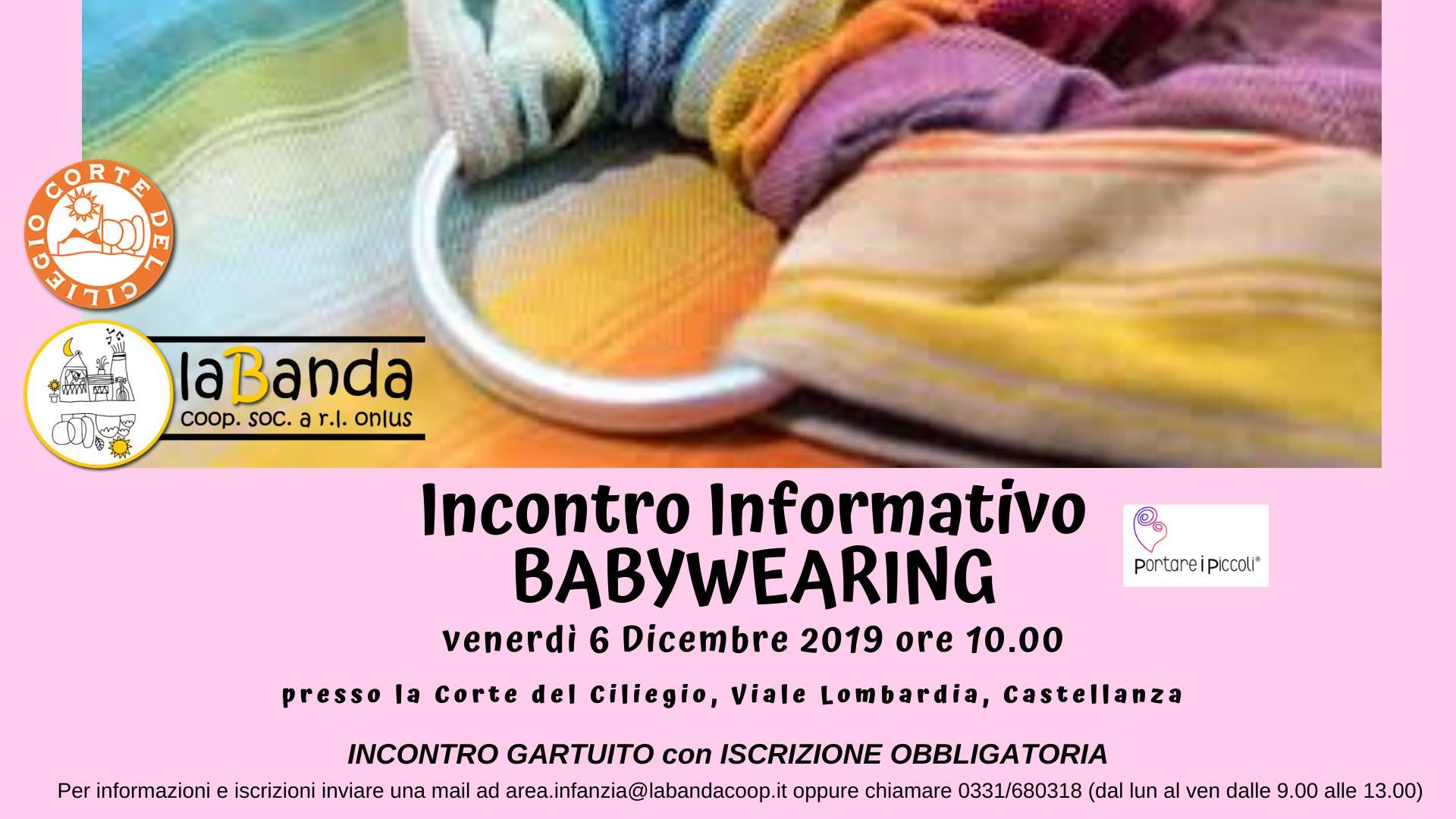 Venerdì 6 Dicembre – Incontro Informativo gratuito BABYWEARING presso la Corte del Ciliegio