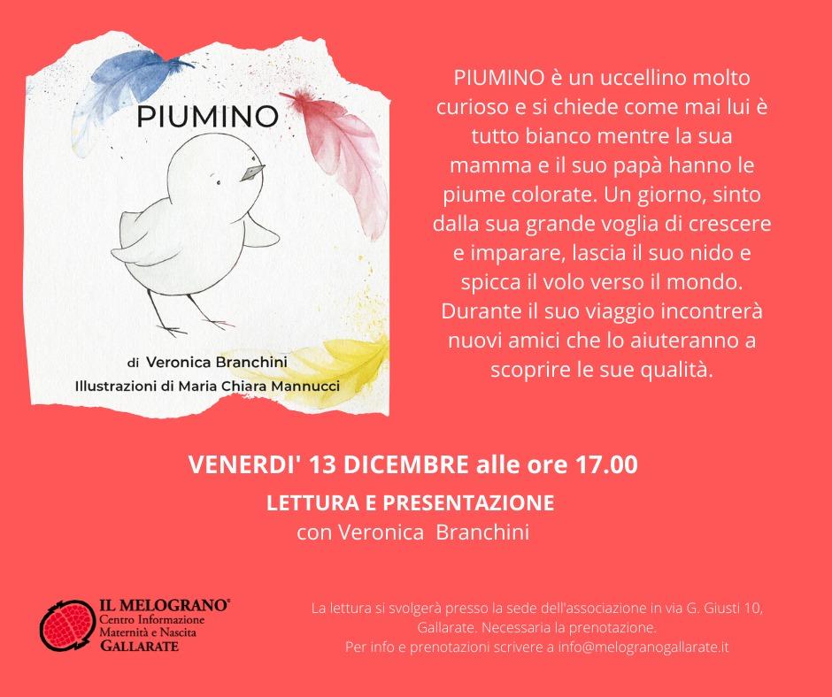 Venerdì 13 Dicembre – Presentazione e Lettura libro PIUMINO – Il Melograno Gallarate