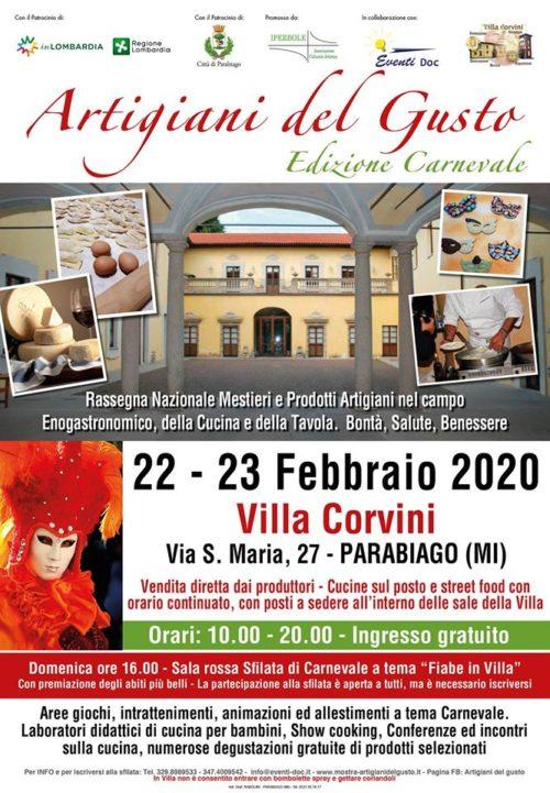 """Sabato 22 e Domenica 23 Febbraio """"ARTIGIANI DEL GUSTO"""" edizione Carnevale presso Villa Corvini – Parabiago"""