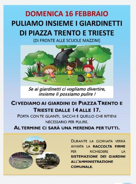 Domenica 16 Febbraio – Puliamo Insieme i Giardinetti di Piazza Trento e Trieste – Invito alle famiglie!