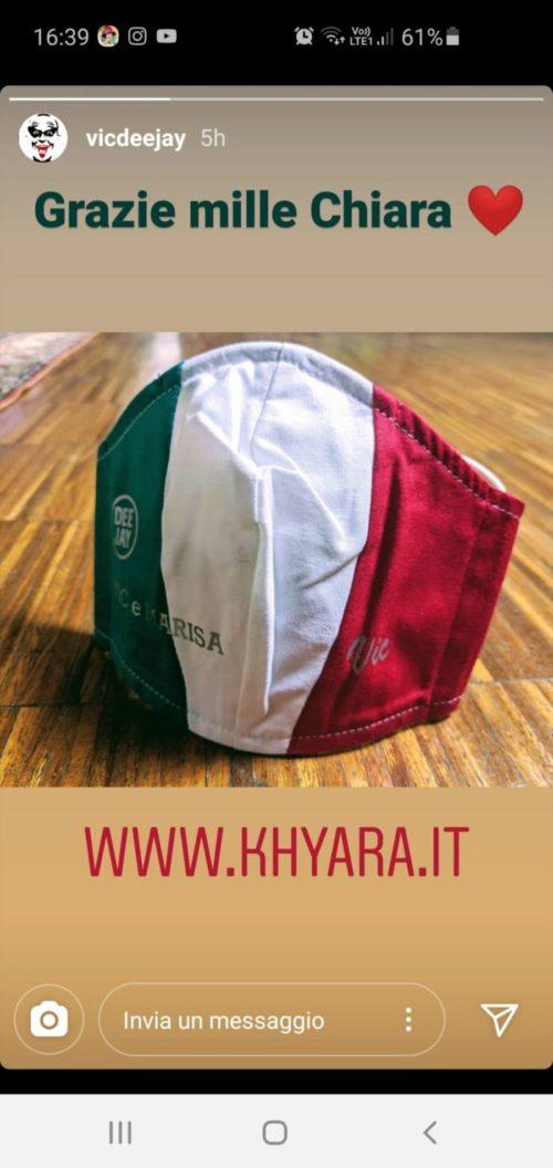 Le mascherine che arrivano lontano :) – Khyara Atelier impresa tessile di Parabiago arriva con le sue mascherine a RADIO DJ a Milano!!!