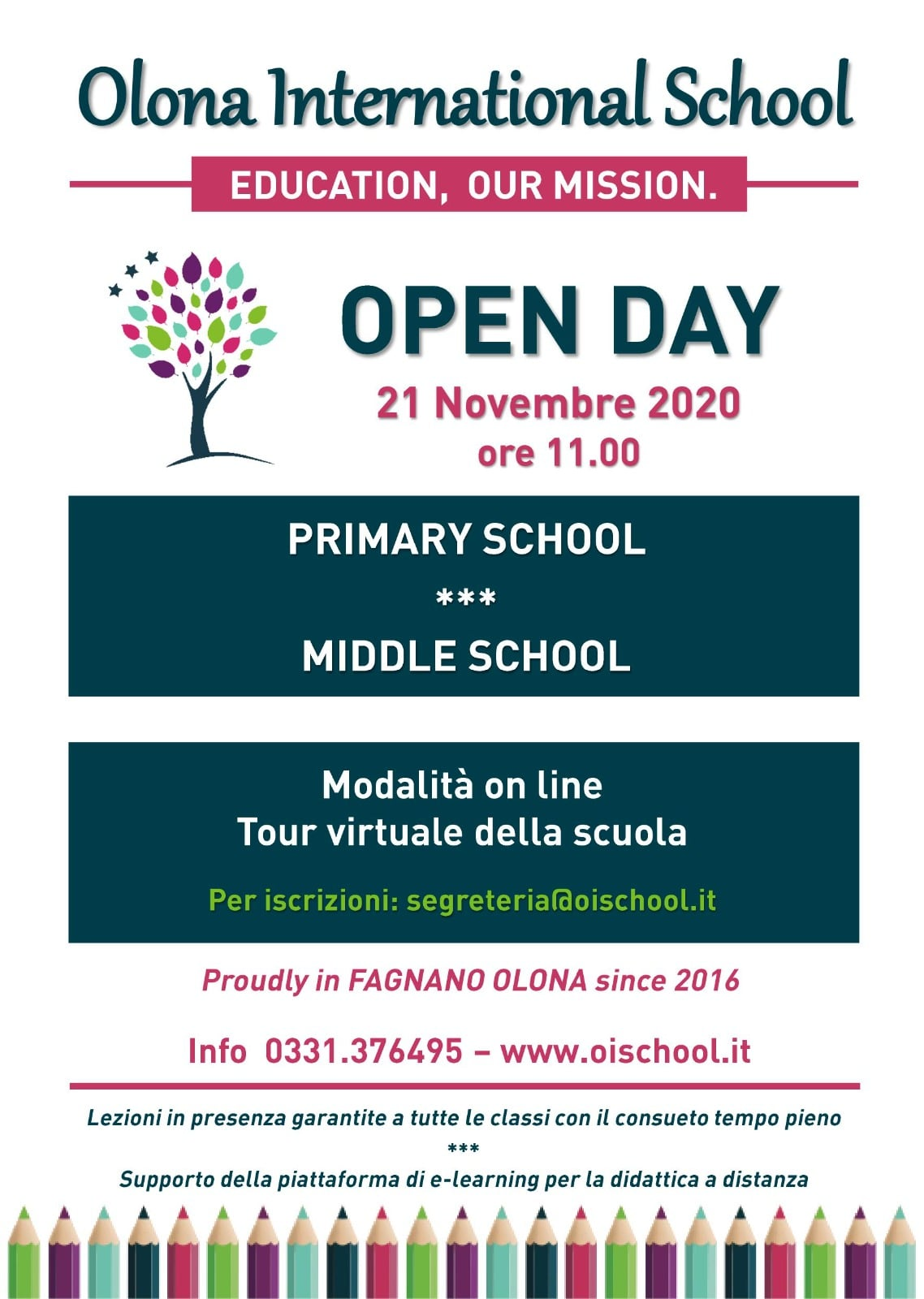 21 Novembre 2020 alle ore 11.00 Openday Online Olona International School!