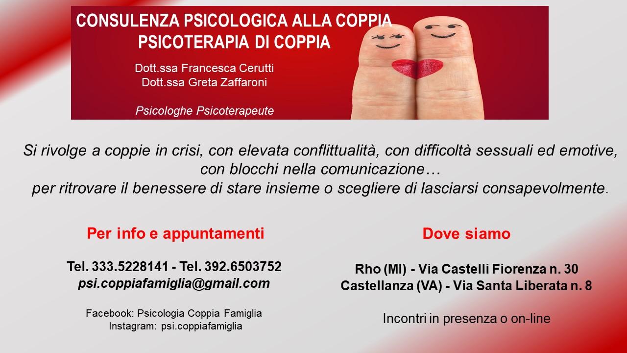 Consulenza Psicologica e Psicoterapia di Coppia – I servizi delle Dottoresse Cerutti e Zaffaroni per le coppie